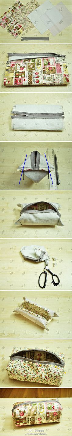 Boxy Cosmetic bag ~ also can be a pencil case, purse. Best sewing machine operation, more solid, hand-stitched, then reinforcement. Sewing Hacks, Sewing Tutorials, Sewing Patterns, Fabric Crafts, Sewing Crafts, Sewing Projects, Diy Sac, Fabric Bags, Handmade Bags