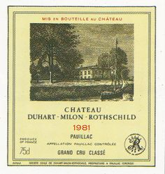 Chateau Duhart Milon Rothschild Pauillac 1981 French Wine Label