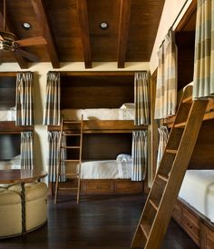 Bunk rooms began as a way to sleep many people in a small space. But with modern day design capabilities, bunk rooms often become the best hang out in the house! We chose a grouping of our favorite designs that definitely prove bunk rooms don't. Mediterranean Bedroom, Mediterranean Design, Built In Bunks, Built Ins, Rustic Bedroom Design, Rustic Design, Bunk Rooms, Dorm Rooms, Kids Rooms