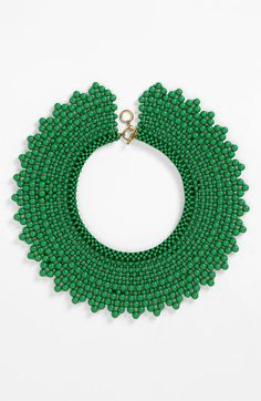 Natasha Couture Beaded Collar Necklace: in love with this emerald necklace, perfect for spring Maxi Collar, Beaded Collar, Collar Necklace, Beaded Jewelry, Handmade Jewelry, Beaded Necklace, Beaded Bracelets, Emerald Necklace, Necklaces