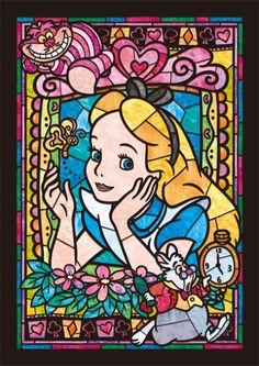 Disney Alice in wonderland stained glass cross stitch chart pattern Disney Pixar, Art Disney, Disney Kunst, Disney Love, Disney Magic, Alice Disney, Disney Collage, Disney Stained Glass, 5d Diamond Painting