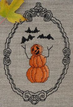 """""""Happy Pumpkinmen (Version counted cross-stitch pattern by Stitch Notions. Dmc Embroidery Floss, Cross Stitch Embroidery, Hand Embroidery, Cross Stitch Patterns, Cross Stitching, Cross Stitch Love, Counted Cross Stitch Kits, Pixel Pattern, Halloween Cross Stitches"""