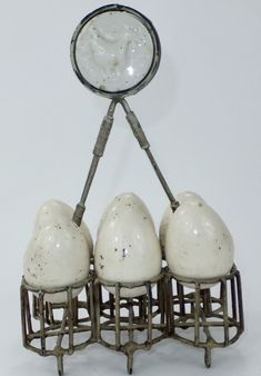 Unusual Wire Work & Pottery Egg display rack. French, C1900