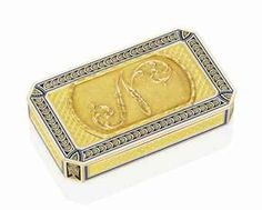 £110K  AN IMPERIAL FRENCH ENAMELLED GOLD PRESENTATION SNUFF-BOX BY ÉTIENNE-LUCIEN BLERZY (FL. 1801-1808), MARKED, PARIS, WITH THE POST-1798 UNOFFICIAL STANDARD MARK FOR 18-CARAT GOLD AND THE PARISIAN STANDARD MARK FOR GOLD 1809-1819, THE FLANGE ENGRAVED WITH RETAILER'S NAME AND INVENTORY NUMBER 52 AND INSCRIBED BY THE RETAILER 'MARGUERITE JOAILLIER DE LA COURONNE DE LEURS MAJESTES IMPERIALES ET ROYALES'