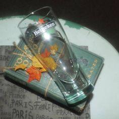Vintage mid 1990s Heineken Beer pint glass.  Etched glass