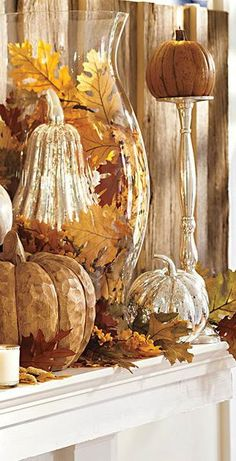 that wonderful time of year between the hot summer and the cold winter . never lasts long enough! Fall Home Decor: Design tips and autumn decorating ideas. Find information and tons of fall decor curated by interior designer Tracy Svendsen. Fall Home Decor, Autumn Home, Autumn Fall, Autumn Mantel, Fall Mantels, Holiday Decor, Decoration Buffet, Autumn Display, Fall Displays
