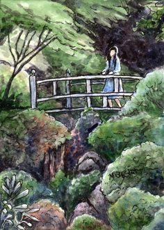 ACEO Original Painting Girl on Bridge Japanese garden landscape green figure #Impressionism