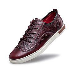 ZRO Men's Wingtip Casual Leather Oxford Sneaker Shoes BLACK