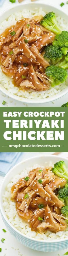 Need an idea for cheap and easy weeknight dinner recipe? Easy Crockpot Teriyaki Chicken in homemade sauce with garlic, honey and soy sauce, served with broccoli and rice as a side, is definitely healthy and easy meal for your family.