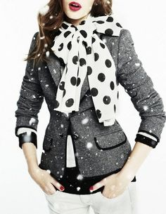 blazer + polka dot bow