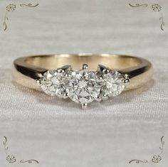 Shining Past Present Future Diamond 14k Plumb Gold Engagement Ring