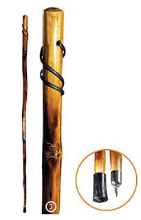 Morgret's Trading Post: 55in. Wooden Walking Stick Grizzly Bear Carving