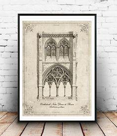 Rouen Cathedrall Vintage neo retro architecture por SoulArtCorner