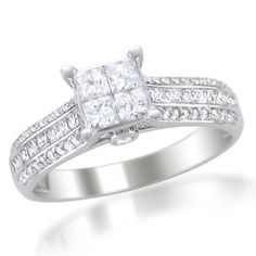 I've tagged a product on Zales: 1 CT. T.W. Princess-Cut Quad Diamond Engagement Ring in 14K White Gold