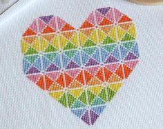PDF Cross Stitch Pattern for Geometric Heart - Geometric Cross Stitch Design - DMC Colours - Fun Rainbow Pattern