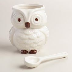 Shaped and painted like a woodland snowy owl, our exclusive ceramic salt cellar is a charming addition to your serveware that includes its own serving spoon. I am now creating my kitchen wishlist! Owl Kitchen Decor, Whimsical Owl, Ceramic Owl, Ceramics Projects, Owl Bird, Harvest Time, Snowy Owl, World Market, Cool Diy Projects