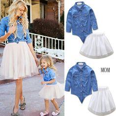 8462dbb71d Matching Mom Daughter Denim Blouse + White Mesh Skirt