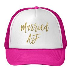 #party - #Married AF Gold Foil and White Trucker Hat