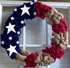 Patriotic Wreath - Burlap Wreath - 4th of July Wreath - Summer Wreath - Spring Wreath - Door Wreath - American Flag on Etsy, $50.00
