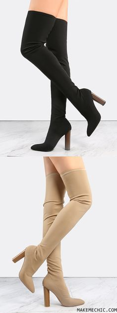 Cylinder Stacked Heel Thigh High Boots BLACK
