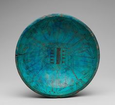 Marsh Bowl - Blue faience with lotus motifs - Egyptian - New Kingdom, early 18th Dynasty - c. 1550-1458 B.C. - Interior View
