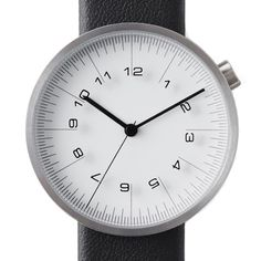 Draftsman 01-Scale 36mm (white/black) watch by nendo. Available at Dezeen Watch Store: www.dezeenwatchstore.com