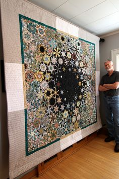 Mosaic art quilts—beautiful, engaging, comforting—for home, office, health care. In private collections & institutional art programs. Big Block Quilts, Small Quilts, Quilt Blocks, Quilting Projects, Quilting Designs, Hexagon Quilt, Hexagons, One Block Wonder, Millefiori Quilts