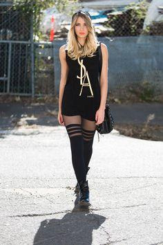 Street Style   Sporty Stripes Hosiery by Black Milk Clothing