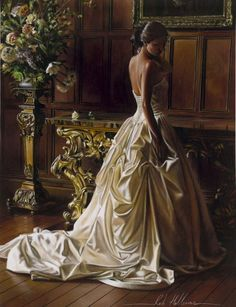 Artist: Rob Hefferan; art; paintings; hyper realistic painting; wedding dress; beauty; beautiful women; romance; romantic; beauty; love; bride; flowers; roses; white