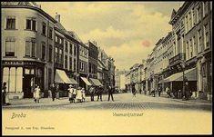 1905-1915 – Breda Veemarktstraat, gezien vanaf de Grote Markt met rechts de Groote Sociëteit.
