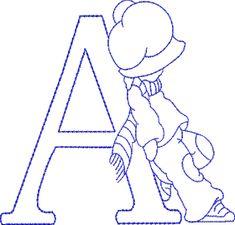Alphabet letters risks or molds Sunbonnet Sue embroidery - Alphabets Lindos Embroidery Alphabet, Embroidery Monogram, Embroidery Applique, Cross Stitch Embroidery, Cross Stitch Patterns, Quilt Patterns, Sunbonnet Sue, Applique Designs, Machine Embroidery Designs