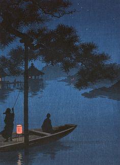 """kafkasapartment: """"Yoru no shubi no matsu (c.1900-1920). Color woodcut, artist unknown. """""""