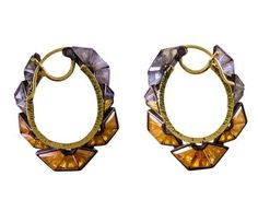 Nak Armstrong | Mosaic Ruffle Hoop Earrings in Designers Nak Armstrong Earrings at TWISTonline