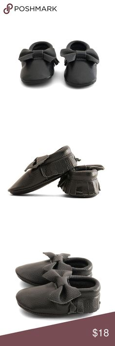 MAC&LOU BOW BABY LEATHER MOCCASINS BLACK BEAUTY MAC&LOU BOW BABY LEATHER MOCCASINS BLACK BEAUTY MAC&LOU Shoes Moccasins