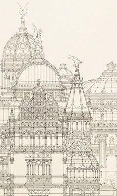 books n buildings — Otto Schmalz (German, Design for a. Croquis Architecture, Architecture Blueprints, Architecture Baroque, Architecture Cool, Architecture Concept Drawings, Ancient Greek Architecture, Classical Architecture, Historical Architecture, Renaissance Architecture