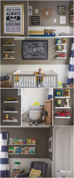 Navy and Gold Vintage Boy Nursery. Chest of drawers, floor basket, phone display Baby Boy Rooms, Baby Boy Nurseries, Nursery Inspiration, Nursery Ideas, Room Ideas, Vintage Nursery Boy, Everything Baby, Nursery Neutral, Baby Time