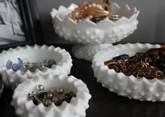 Jewelry storage ... I like the idea of using a few girlie and maybe antique bowls and saucers ...