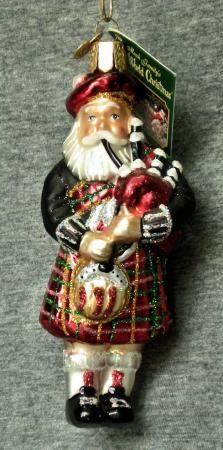 Scottish Highlander figurines | Blown Glass Highland Santa in Kilt Bagpipe Old World Christmas Holiday ...