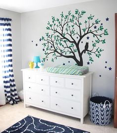 Large Tree Wall Decals Baby Nursery Tree Wall Sticker with Owl