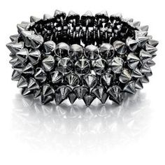 Spikes and studs have been big throughout summer and will continue to be a massive inspiration into Autumn and Winter, This gunmetal spike bracelet says it all, layer after layer of metallic studs make up the stretch style design. Metal Bracelets, Stretch Bracelets, Metal Jewelry, Bangle Bracelets, Bangles, Spike Bracelet, Metal Spikes, Fiorelli, Layered Jewelry