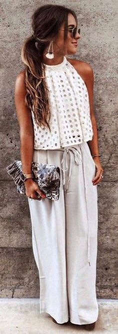 #Summer #Outfits / White Halter Top + Grey Palazzo Pants