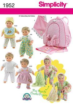 "sew your own starter set for a 15"" baby doll. pattern includes clothes, hat, shoes, bib, child size back pack doll carrier and blanket.<br><br>knit or crochet an adorable cardigan, bonnet, blanket and doll backpack to complete the wardrobe - <a href=""/t-free-crochet-pattern-1952-accessories.aspx""><strong>click here for free instructions!</strong></a><p> </p><p> </p><p> </p><br /><br /><a href=""/t-doll-boutique.aspx"" class=""more"">sewing tips for doll clothes</a><br /><br />"
