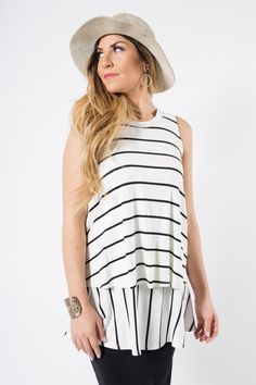 Agnes & Dora - Tiered Tunic Ivory and Black Stripes