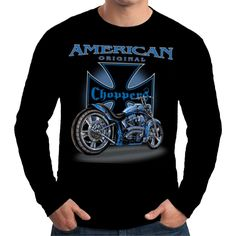 Velocitee Mens Long Sleeve T Shirt Choppers Motorcycle Biker Chopper  W11299 #Velocitee