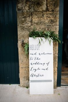 Script Fancy Font Typography Wedding Sign | Byre at Inchyra Wedding Venue | The Old Cow Barn in Scotland | Rustic Barn Wedding | Contemporary Decor | Greenery & Pink Florals | Gold Accents | Images by Claudia Rose Carter | http://www.rockmywedding.co.uk/layla-alastair/