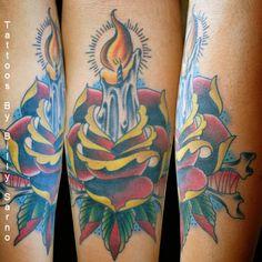 Rose Candle Tattoo #tattoo #ink