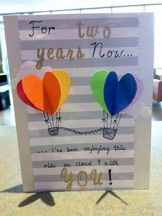 """• Two Year anniversary """"Heart Air Balloon"""" card •"""