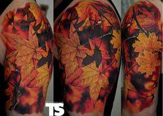 Fall leaves tattoo by Dmitriy Samohin