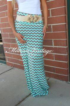 Chevron maxi skirt nicely matched with a cute belt Maxi Skirt Outfits, Modest Outfits, Modest Fashion, Dress Skirt, Cute Outfits, Fashion Outfits, Modest Clothing, Emo Fashion, Maxi Dresses