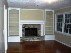 For the fireplace room. Originally a full brick wall with the tiny fireplace in the middle. Now with built-in bookshelves and a nice mantel. Good way to work around the raised hearth. Bookshelves Around Fireplace, Built In Around Fireplace, Brick Fireplace Wall, Brick Fireplace Makeover, Fireplace Built Ins, Fireplace Remodel, Fireplace Surrounds, Fireplace Design, Fireplace Ideas